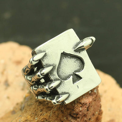 316L Stainless Steel Cool Ghost Claw Spades Silver Ring - Mirage Novelty World