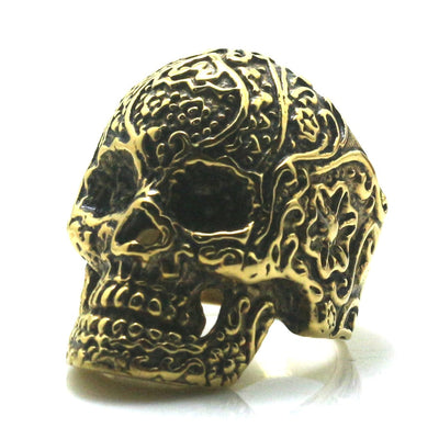 Mens 316L Stainless Steel Flower&Crackle Skull Ring Newest - Mirage Novelty World