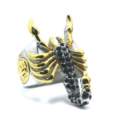Unisex 316L Stainless Steel Punk Gothic Golden Scorpion Black Stone Newest Ring - Mirage Novelty World