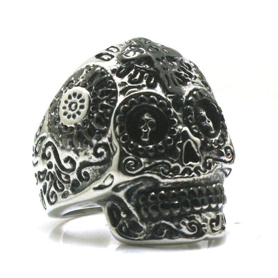 Original Size 7 To Size 15 Unisex 316L Stainless Steel Black & Silver Evil Demon Cool Biker Skull Ring For Rider - Mirage Novelty World