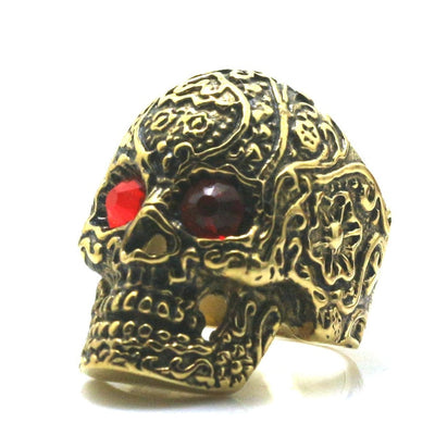 Mens 316L Stainless Steel Red Stone Eyes Flower Skull Ring Newest - Mirage Novelty World
