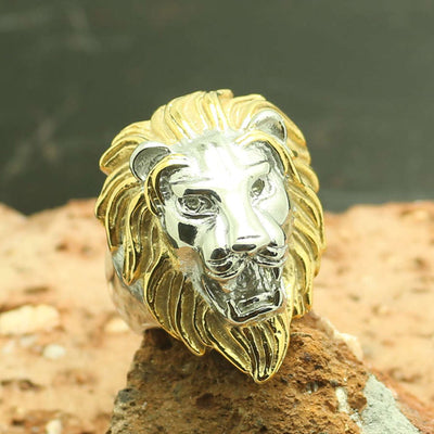 316L Stainless Steel Cool Golden & Silver Lion King Punk Gothic Ring - Mirage Novelty World