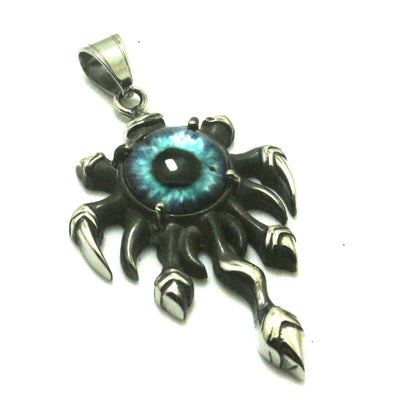 316L Stainless Steel Silver The Eye of the Flame Cool Pendant Delicate Blue Stone Great or Best Gift For Friend - Mirage Novelty World