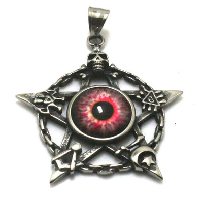 Cool Pink Stone Eye Seal Pendant 316L Stainless Steel Silver Skull Moon Star Seal Great or Best Gift For Friend - Mirage Novelty World