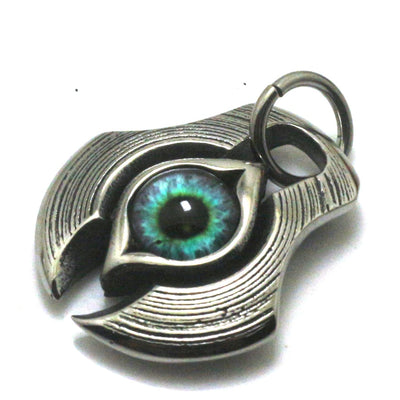 316L Stainless Steel Silver Cool Spacecraft Pendant Blue Stone Eye Gift For Friend - Mirage Novelty World