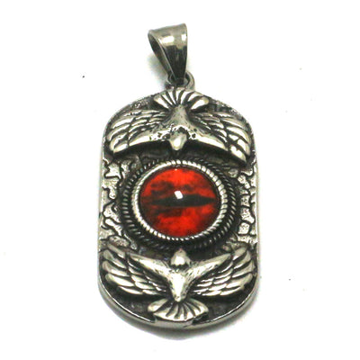 316L Stainless Steel Silver Cool Big Orange Stone Soldier Eagle Pendant Great Best Gift For Friend - Mirage Novelty World