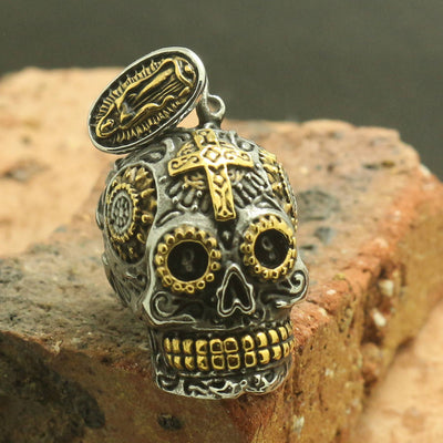 Mens Boys 316L Stainless Steel Cool Punk Gothic Golden & Silver Cross Flower Skull Cool Pendant - Mirage Novelty World