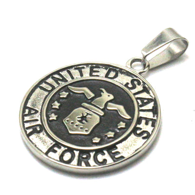 Men 316L Stainless Steel Cool Punk Gothic United States Air Force Silver Pendant - Mirage Novelty World
