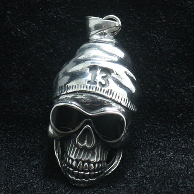 Mens Boys 316L Stainless Steel Silver Cool 13 Punk Gothic Biker Glasses Skull Pendant Newest - Mirage Novelty World