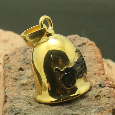 Men 316L Stainless Polishing Black Gold Motorcycle Biker Bell Pendant - Mirage Novelty World