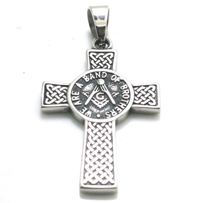 Unisex 316L Stainless Steel Silver Cross WE ARE A BAND OF BROTHERS Newest Freemasons Pendant - Mirage Novelty World