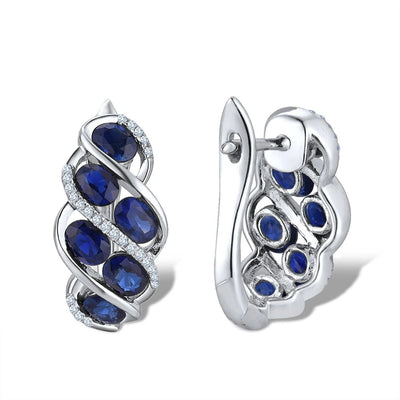 Pure 14K 585 White Gold Luxury Blue Sapphire Shiny Diamond Earrings For Women Anniversary Wedding Elegant Fine Jewelry - Mirage Novelty World