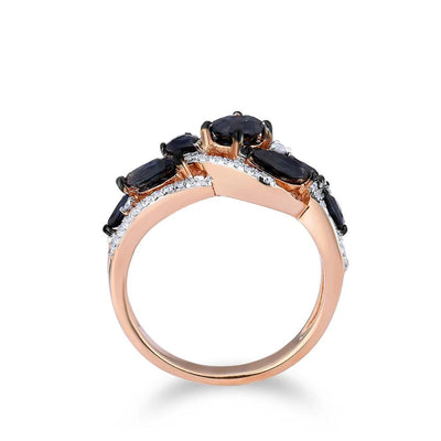 Gold Rings For Women Genuine 14K 585 Rose Gold Ring Leaves Shiny Diamond Blue Sapphire Wedding Engagement Fine Jewelry - Mirage Novelty World