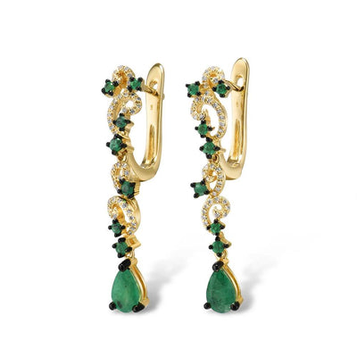 Gold Earrings For Women 14K 585 Yellow Gold Sparkling Emerald Luxury Diamond Wedding Anniversary Elegant Fine Jewelry - Mirage Novelty World