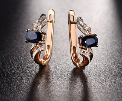 Gold Earrings For Women Genuine 14K 585 Rose Gold Sparkling Blue Sapphire Diamond Exquisite Anniversary Fine Jewelry - Mirage Novelty World