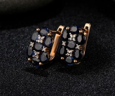 Gold Earrings For Women 14K 585 Rose Gold Shiny Blue Sapphire Diamond Wedding Band Engagement Luxury Trendy Fine Jewelry - Mirage Novelty World