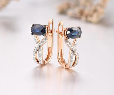 Gold Earrings For Women 14K 585 Rose Gold Sparkling Blue Sapphire Luxury Diamond Wedding Band Anniversary Fine Jewelry - Mirage Novelty World