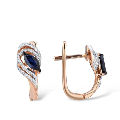 Gold Earrings For Women 14K 585 Rose Gold Sparkling Blue Sapphire Elegant Diamond Wedding Band Anniversary Fine Jewelry - Mirage Novelty World