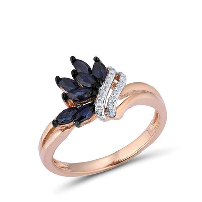 Pure 14K 585 Rose Gold Ring For Women Ring shining Diamond Blue Sapphire Luxury Wedding Engagement Elegant Fine Jewelry - Mirage Novelty World