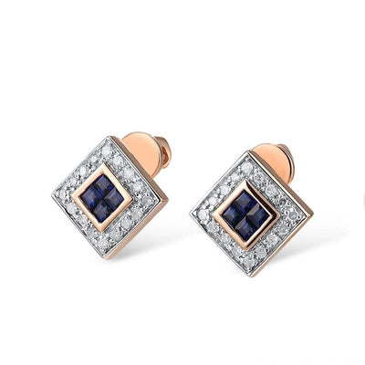 Gold Earrings For Women 14K 585 Rose Gold Shiny Blue Sapphire Diamond Wedding Engagement Trendy Fine Jewelry - Mirage Novelty World