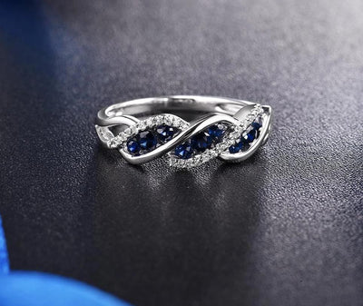 Gold Rings For Women Genuine 14K 585 White Gold Ring Sparkling Diamond Natural Blue Sapphire Luxury Trendy Fine Jewelry - Mirage Novelty World