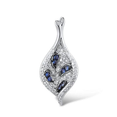 Gold Pendant For Women Genuine 14K 585 Rose White Gold Sparkling Diamond Blue Sapphire Delicate Wedding Fine Jewelry - Mirage Novelty World