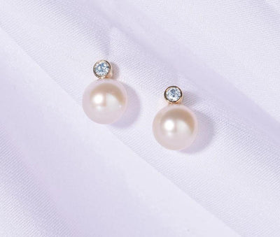 Pure 14K 585 Yellow Gold Earrings For Women Sparkling Diamond Fresh Water Pearl Unique Trendy Elegant Fine Jewelry - Mirage Novelty World