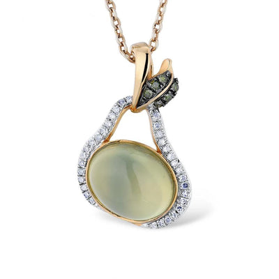 Gold Pendants For Women Genuine 14K 585 Yellow Gold Green Grapes Natural Prehnite Sparkling Diamond Wedding Fine Jewelry - Mirage Novelty World