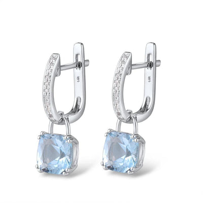 Gold Earrings For Women Authentic 14K 585 White Gold Shiny Diamond Limpid Sky Blue Topaz Classical Earrings Fine Jewelry - Mirage Novelty World