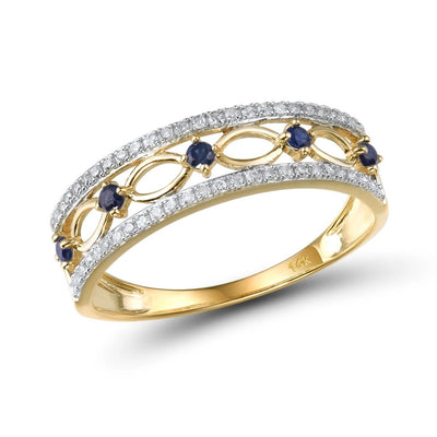 14K Yellow Gold Rings For Women Genuine Sparkling Diamond Fancy Blue Sapphire Engagement Anniversary Unique Fine Jewelry - Mirage Novelty World