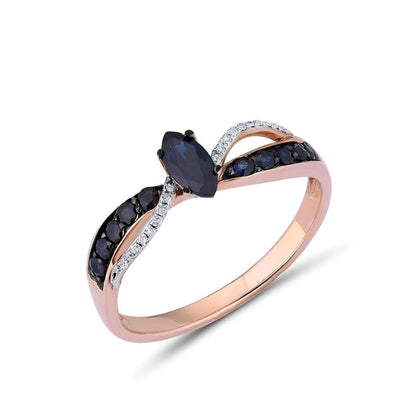Gold Rings For Women Pure 14K 585 Rose Gold Ring Sparkling Diamond Blue Sapphire Luxury Wedding Engagement Fine Jewelry - Mirage Novelty World