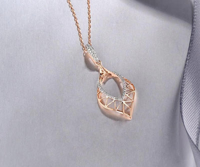 Gold Pendants For Women Authentic 14K 585 Rose Gold Sparkling Round Diamond Simple Elegant Wedding Band Fine Jewelry - Mirage Novelty World