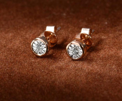 Pure 14K 585 Two-Tone Gold Sparkling Illusion-Set Miracle Plate Diamond Earrinings For Women Fashion Trendy Fine Jewelry - Mirage Novelty World