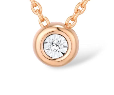 Gold Pendant For Women Pure 14K 585 Rose Gold Illusion-Set Miracle Plate Diamond Pendant Round Circle Chic Fine Jewelry - Mirage Novelty World