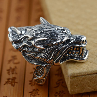 S925 sterling silver ring antique silver wolf retro style unique male style gift - Mirage Novelty World