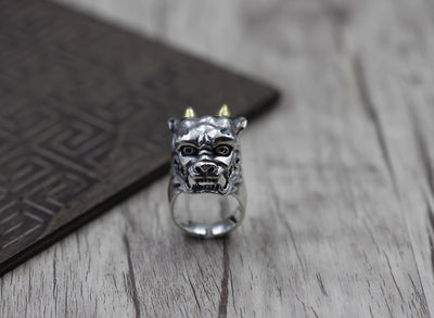 The Thai unique ring opening ring male domineering retro Prajna 925 sterling silver jewelry Man's silver ring - Mirage Novelty World