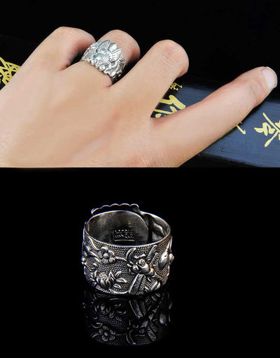S999 pure silver retro men's and women's rings enamel roll ring antique craftsmanship men's silver ring - Mirage Novelty World