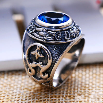 S925 silver jewelry  silver retro synthetic blue crystal ring  totem domineering man - Mirage Novelty World