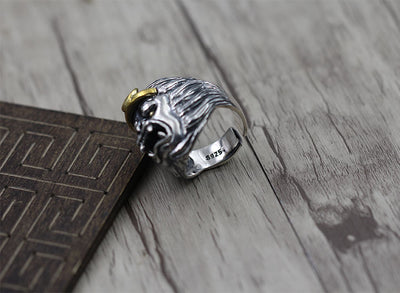 925 Sterling Silver Ring personality carved old Thai silver jewelry to create Sun Wukong domineering opening ring - Mirage Novelty World