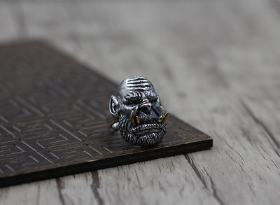 S925 silver jewelry silver ring build retro personality to do the old World of Warcraft open men's ring - Mirage Novelty World