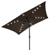 10x6.5 ft Rectangle Outdoor Patio Aluminium Umbrella Sun Shade Solar Powered Led Light Crank Tilt Chocolate - Mirage Novelty World