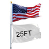 25ft Telescopic 16 Gauge Aluminum Flag Pole 3'x5' US Flag Ball Top Kit Telescoping Flagpole Fly 2 Flags Outdoor - Mirage Novelty World