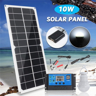 5in1 10W 12V 5V USB Solar Panel Charger Monocrystalline Flexible Cell Generator Lighting System W/ 10A Controller 3W Light Bulb - Mirage Novelty World