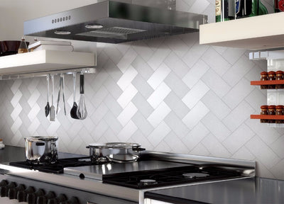 32 Pieces Peel and Stick Stainless Steel Kitchen Backsplash Tiles 3'' x 6'' Silver Brushed Metal Mosaic Wall Sticker - Mirage Novelty World