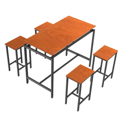 5-piece modern industrial style brown dining table set dining room home kitchen furniture with 4 pcs chairs - Mirage Novelty World