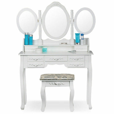 Home Women's Dressing Table Elegant  White Dressers & 3 Oval Mirror 7 Drawers Stool Bedroom
