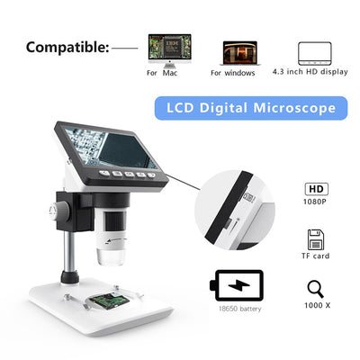 G1200 Digital Microscope 7 Inch Large Color Screen Large Base LCD Display 12MP 1-1200X Continuous Amplification Magnifier - Mirage Novelty World
