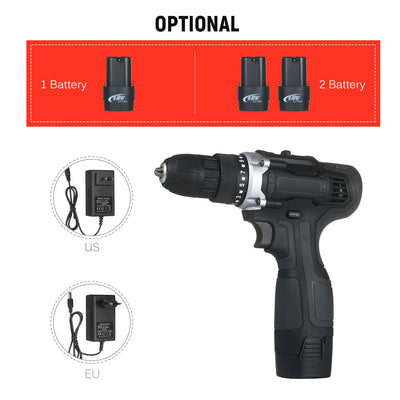 18V 2-Speed Cordless Drill Driver Batteries Fast Charger 15+1 Clutch Max 50Nm Torque Variable Speed 3/8in Compact Electric Drill - Mirage Novelty World
