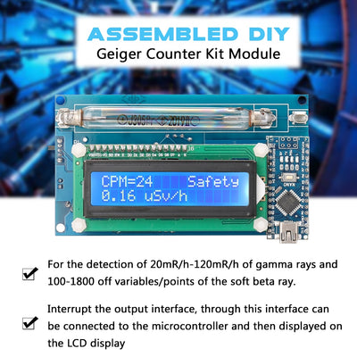 Assembled Radiation Detector System Assembled DIY Geiger Counter Kit Module Nuclear Radiation Detector with LCD Display - Mirage Novelty World