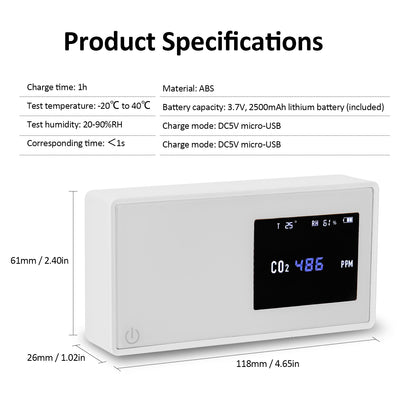 High Accuracy Household Air Quality Detector CO2 Tester Electricity Temperature Humidity Display USB Carbon Dioxide Gas Monitor - Mirage Novelty World